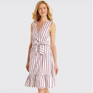 Draper James White & Pink Stripe Wrap Tank Dress